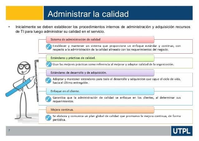 Administrar la calidad 7 • Inicialmente se deben establecer los procedimientos internos de administración y adquisición re...
