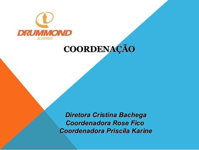 COORDENAÇÃO  Diretora Cristina Bachega Coordenadora Rose Fico Coordenadora Priscila Karine