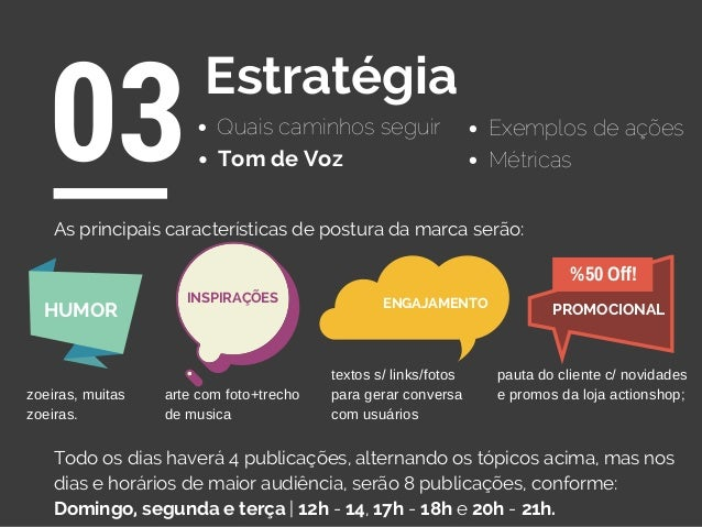 Quais caminhos seguir 03Estratégia Exemplos de ações Tom de Voz As principais características de postura da marca serão: T...