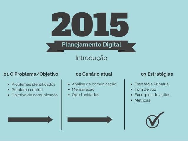 2015Planejamento Digital Introdução 01 O Problema/Objetivo 02 Cenário atual 03 Estratégias Problemas identificados Problem...