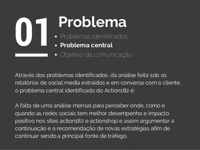 Problemas identificados 01Problema Objetivo da comunicação Através dos problemas identificados, da análise feita sob os re...