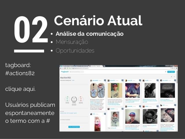 Análise da comunicação 02Cenário Atual Oportunidades Mensuração tagboard: #action182 clique aqui. Usuários publicam espont...