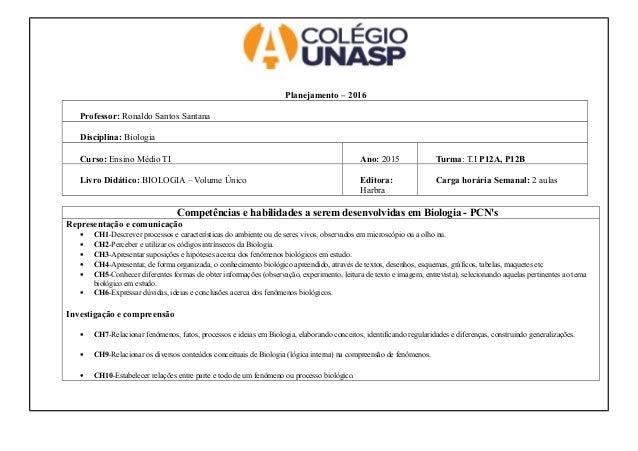 Planejamento – 2016 Professor: Ronaldo Santos Santana Disciplina: Biologia Curso: Ensino Médio TI Ano: 2015 Turma: T.I P12...