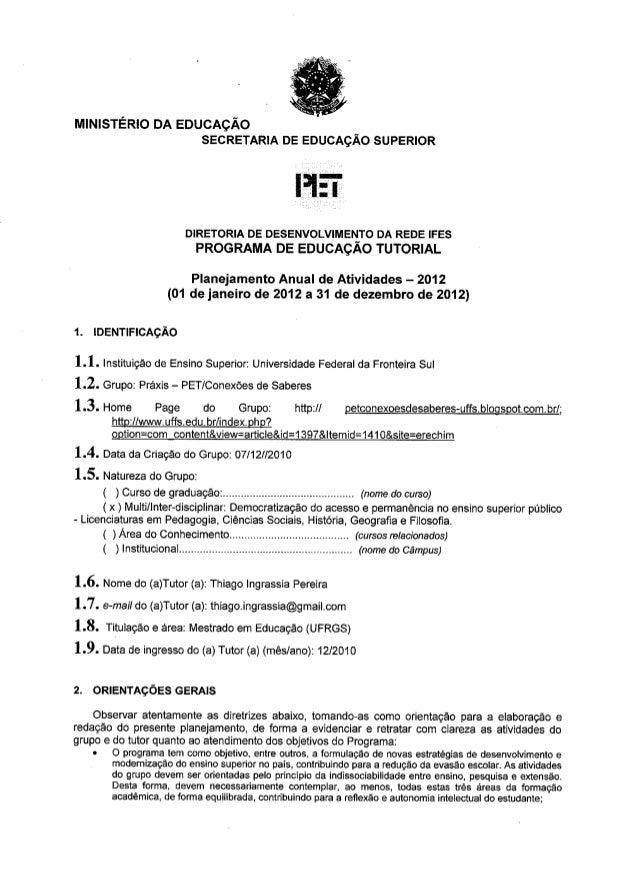 Planejamento 2012 praxis uffs aprovado