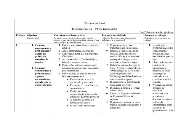 Planejamento Anual  Disciplina: Filosofia – 3ª Série Ensino Médio  Prof.ª Ilca Guimarães da Silva  Unidade Objetivos  [Cap...