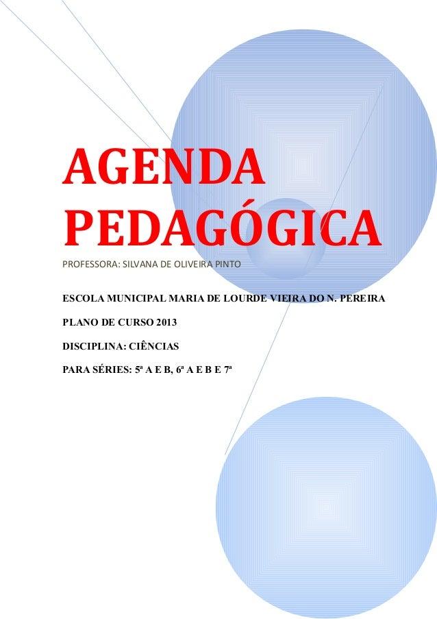 AGENDAPEDAGÓGICAPROFESSORA: SILVANA DE OLIVEIRA PINTOESCOLA MUNICIPAL MARIA DE LOURDE VIEIRA DO N. PEREIRAPLANO DE CURSO 2...
