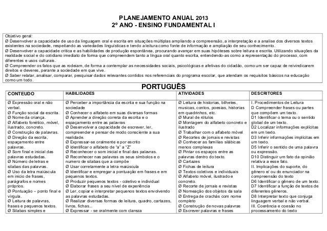 PLANEJAMENTO ANUAL 2013                                                       2º ANO - ENSINO FUNDAMENTAL IObjetivo geral:...