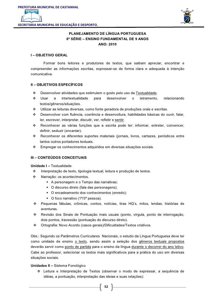 PREFEITURA MUNICIPAL DE CASTANHALSECRETARIA MUNICIPAL DE EDUCAÇÃO E DESPORTO.                              PLANEJAMENTO DE...