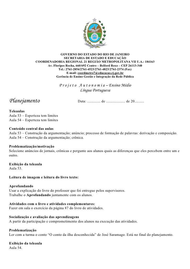 GOVERNO DO ESTADO DO RIO DE JANEIRO                                  SECRETARIA DE ESTADO E EDUCAÇÃO                  COOR...