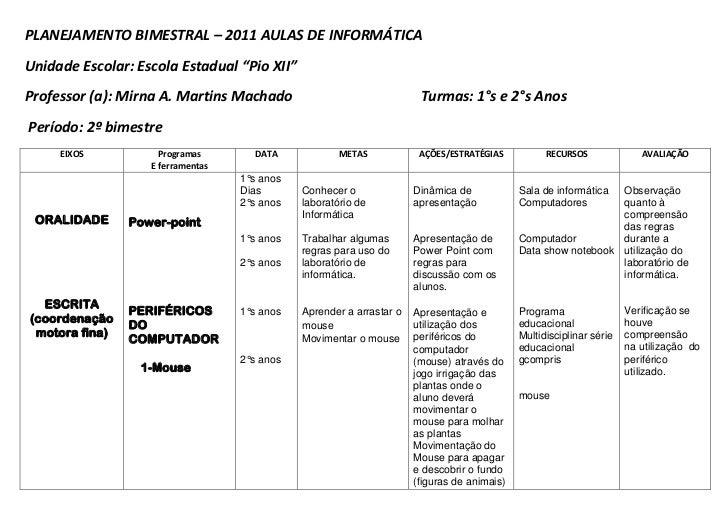 "PLANEJAMENTO BIMESTRAL – 2011 AULAS DE INFORMÁTICA<br />Unidade Escolar: Escola Estadual ""Pio XII""<br />Professor (a): Mir..."
