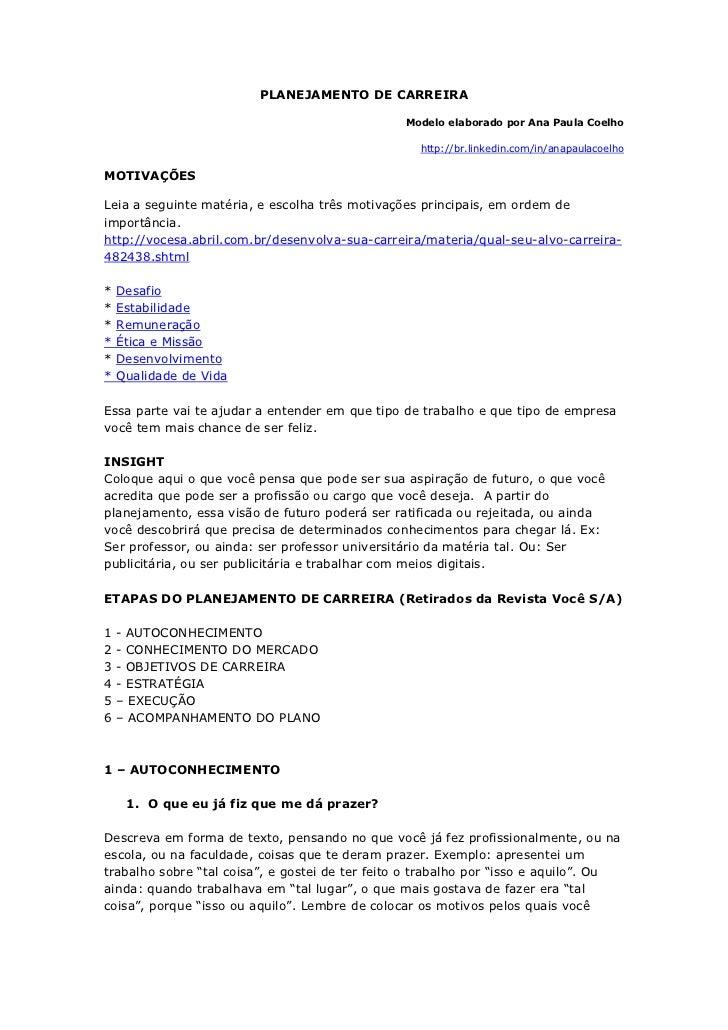PLANEJAMENTO DE CARREIRA                                                 Modelo elaborado por Ana Paula Coelho            ...