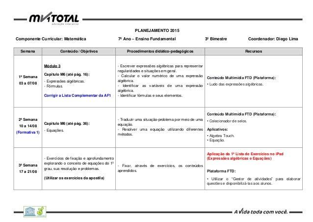 PLANEJAMENTO 2015 Componente Curricular: Matemática 7º Ano – Ensino Fundamental 3º Bimestre Coordenador: Diego Lima Semana...