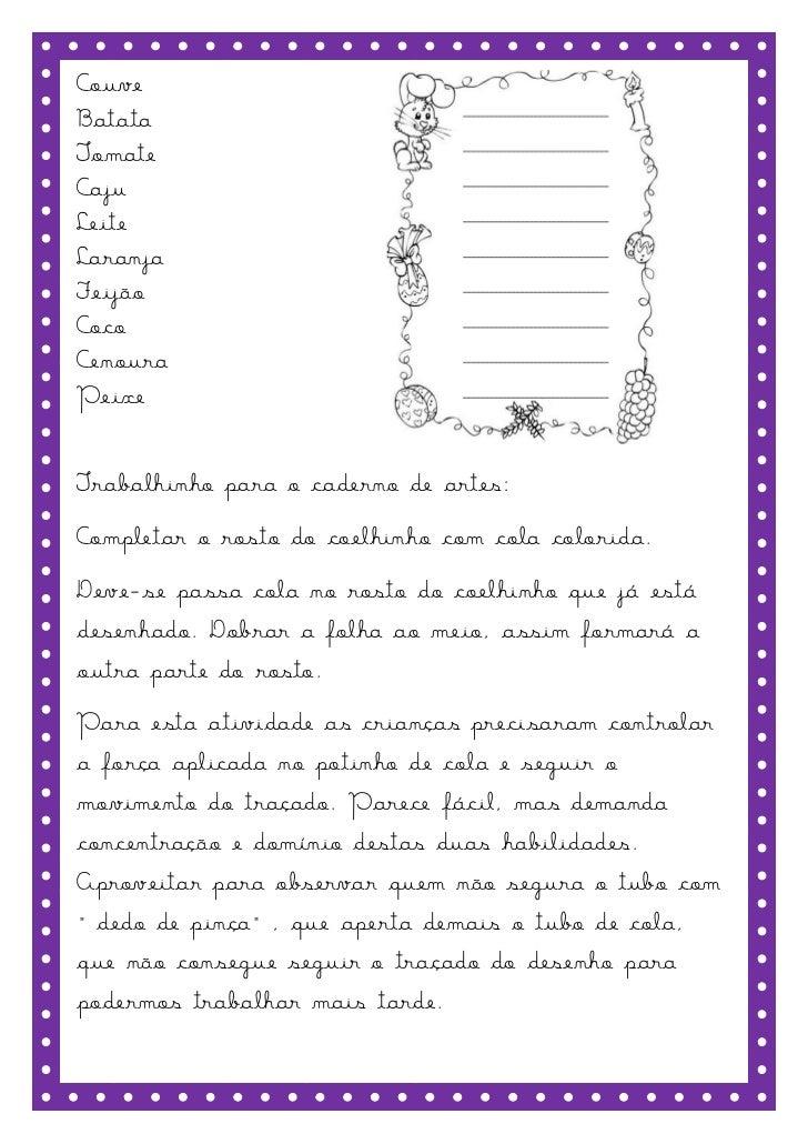 CouveBatataTomateCajuLeiteLaranjaFeijãoCocoCenouraPeixeTrabalhinho para o caderno de artes:Completar o rosto do coelhinho ...