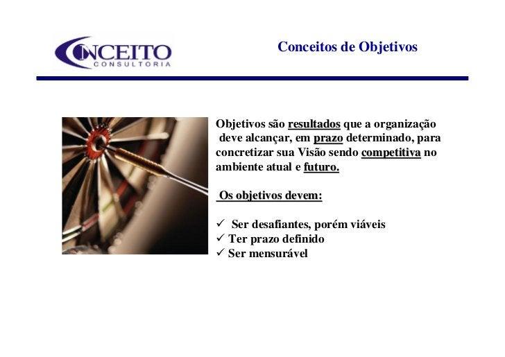 Conceitos de Objetivos     Objetivos são resultados que a organização  deve alcançar, em prazo determinado, para concretiz...