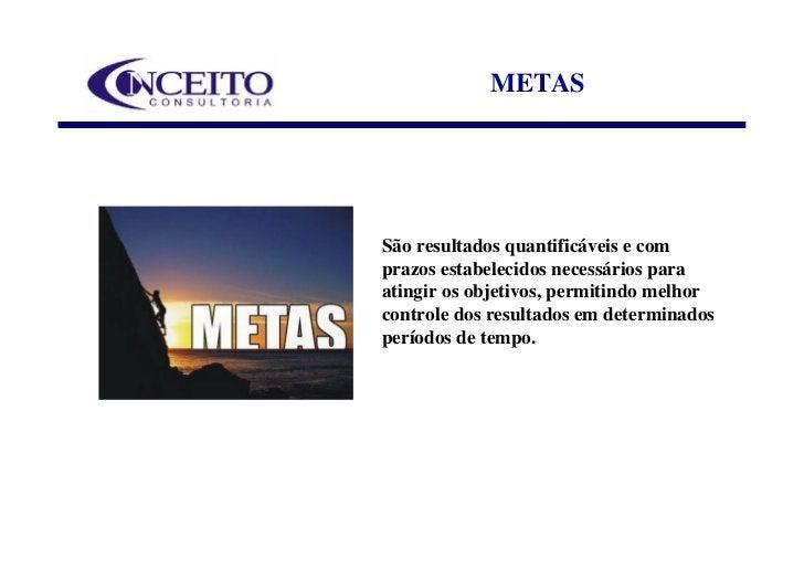 METAS     São resultados quantificáveis e com prazos estabelecidos necessários para atingir os objetivos, permitindo melho...