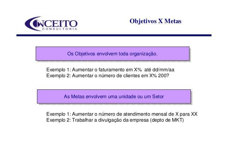 Objetivos X Metas            Os Objetivos envolvem toda organização.         Os Objetivos envolvem toda organização.  Exem...