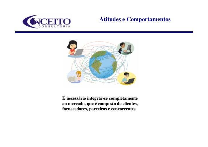 Atitudes e Comportamentos     É necessário integrar-se completamente ao mercado, que é composto de clientes, fornecedores,...