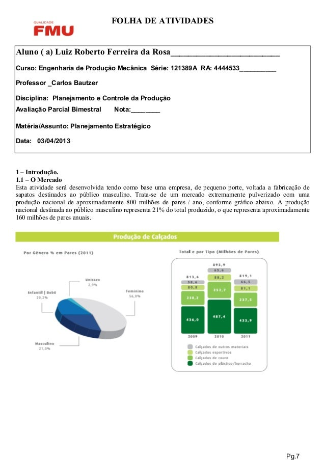 FOLHA DE ATIVIDADES Aluno ( a) Luiz Roberto Ferreira da Rosa_________________________ Curso: Engenharia de Produção Mecâni...