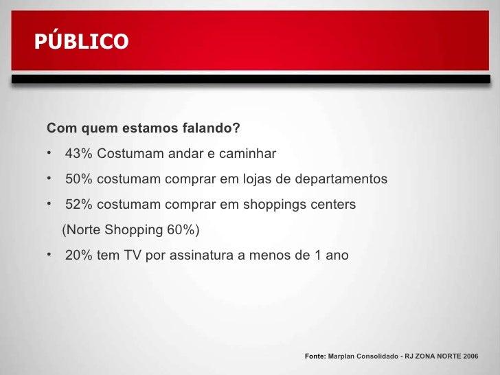 Fonte:  Marplan Consolidado - RJ ZONA NORTE 2006 PÚBLICO <ul><li>Com quem estamos falando? </li></ul><ul><li>43% Costumam ...