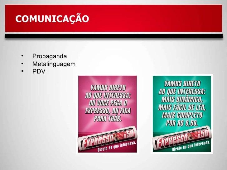<ul><li>Propaganda </li></ul><ul><li>Metalinguagem </li></ul><ul><li>PDV </li></ul>COMUNICAÇÃO