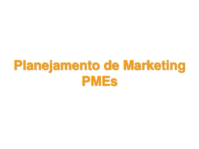 Planejamento de Marketing PMEs