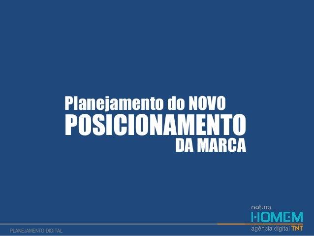 Planejamento do NOVO POSICIONAMENTO DA MARCA PLANEJAMENTO DIGITAL