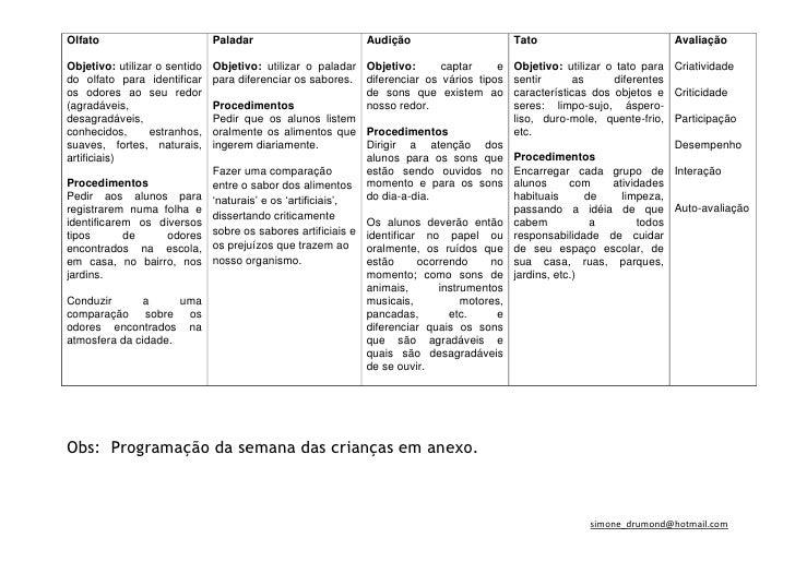 Planejamento os cinco sentidos Slide 2