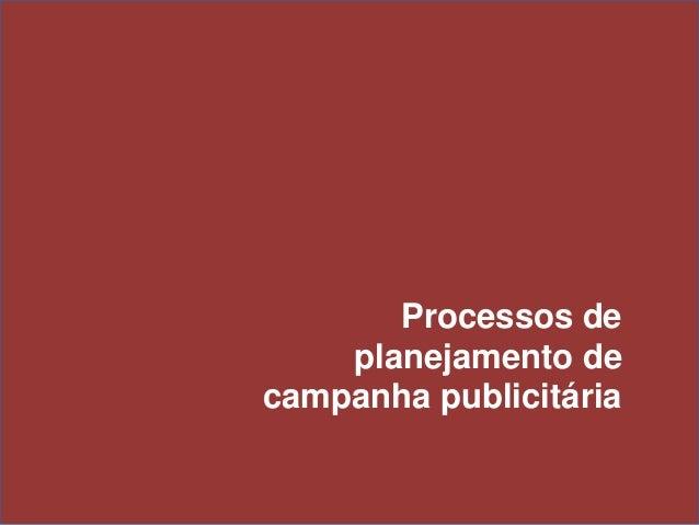 Processos de planejamento de campanha publicitária