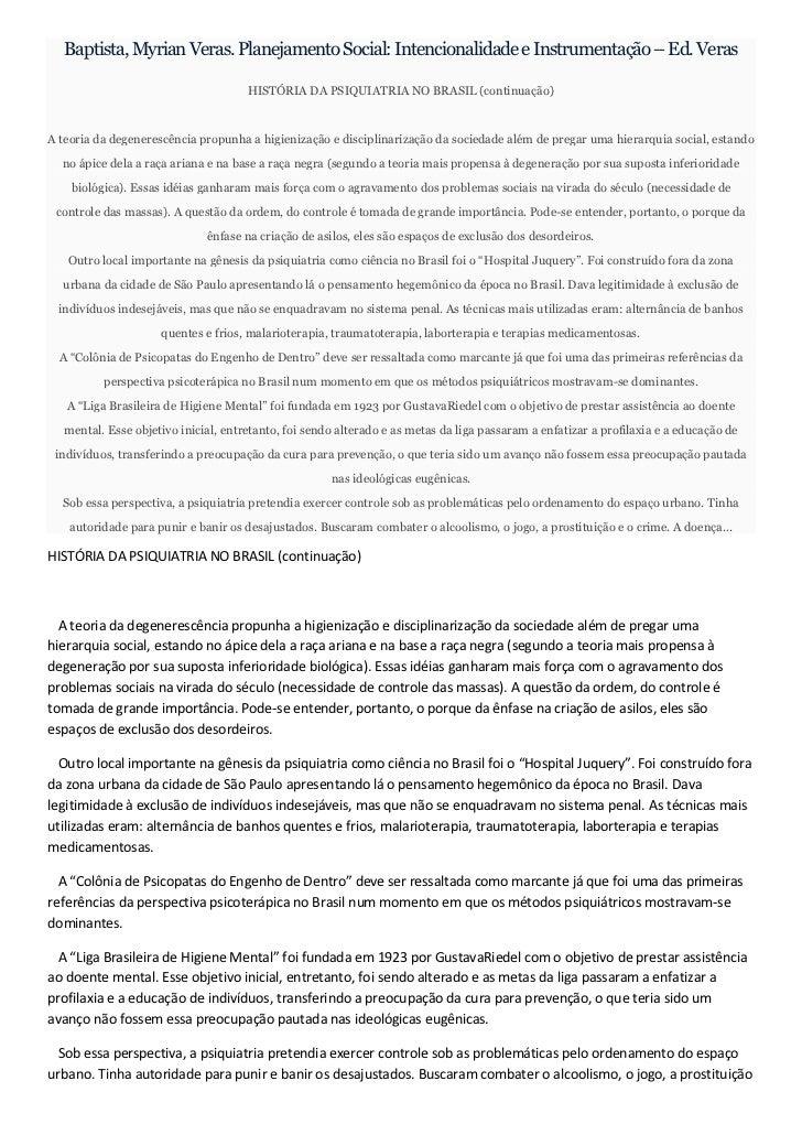 Baptista, Myrian Veras. Planejamento Social: Intencionalidade e Instrumentação – Ed. Veras                                ...