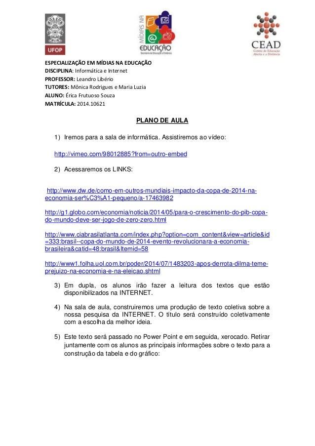ESPECIALIZAÇÃO EM MÍDIAS NA EDUCAÇÃO DISCIPLINA: Informática e Internet PROFESSOR: Leandro Libério TUTORES: Mônica Rodrigu...