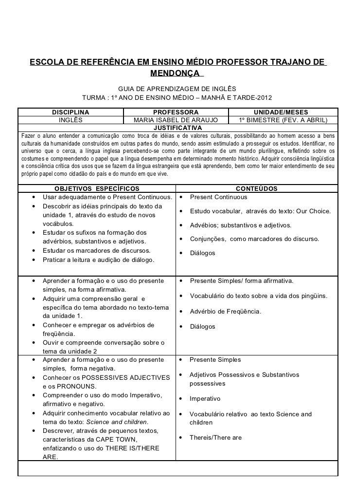 ESCOLA DE REFERÊNCIA EM ENSINO MÉDIO PROFESSOR TRAJANO DE                          MENDONÇA                               ...