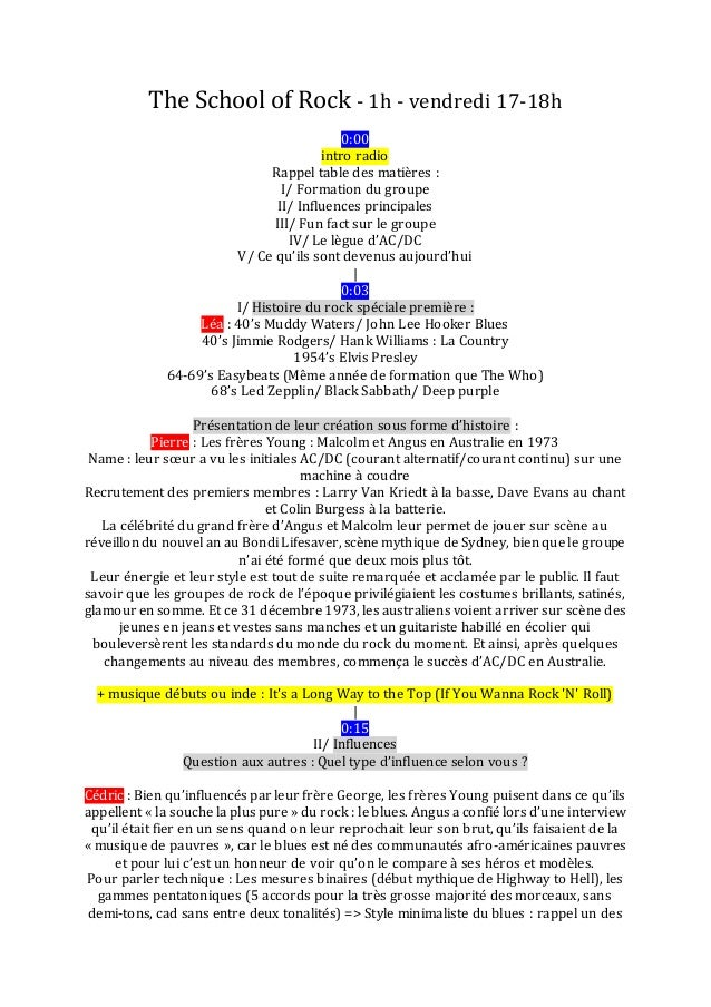 The School of Rock - 1h - vendredi 17-18h 0:00 intro radio Rappel table des matières : I/ Formation du groupe II/ Influenc...