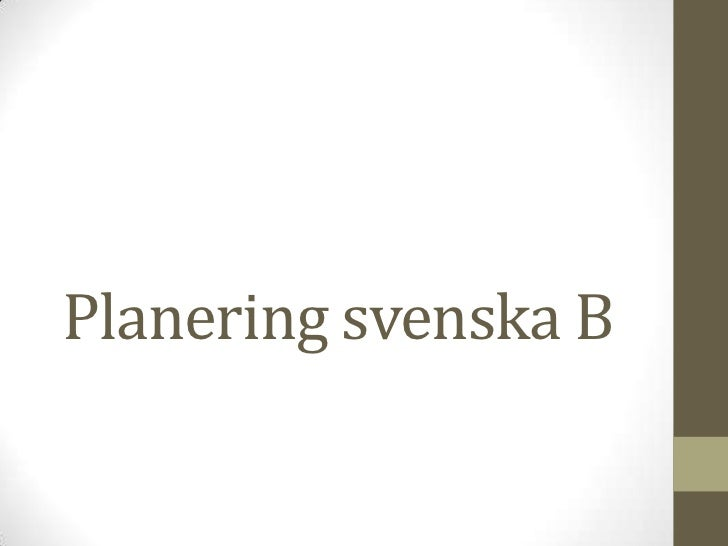 Planering svenska B