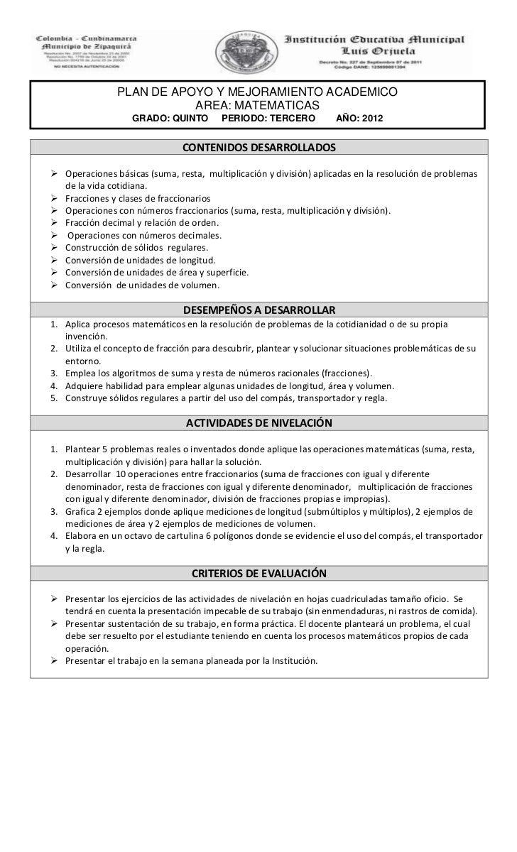 Planes de apoyo y mejoramiento academico grado quinto 2012
