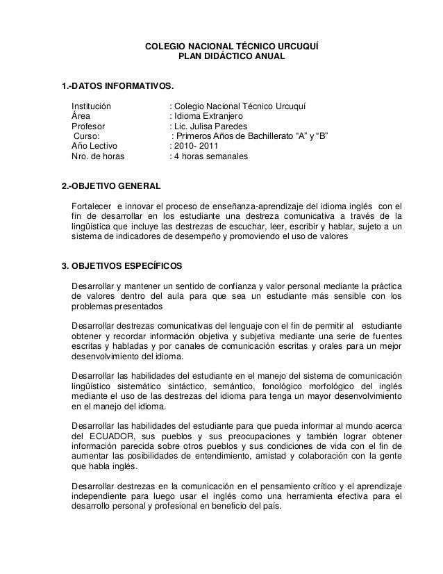 COLEGIO NACIONAL TÉCNICO URCUQUÍ PLAN DIDÁCTICO ANUAL 1.-DATOS INFORMATIVOS. Institución : Colegio Nacional Técnico Urcuqu...