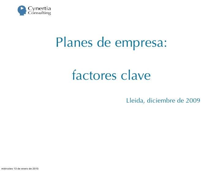 Planes de empresa:                                    factores clave                                            Lleida, di...