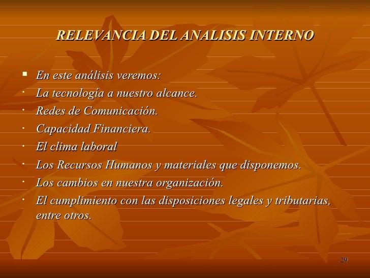 RELEVANCIA DEL ANALISIS INTERNO <ul><li>En este análisis veremos: </li></ul><ul><li>La tecnología a nuestro alcance. </li>...