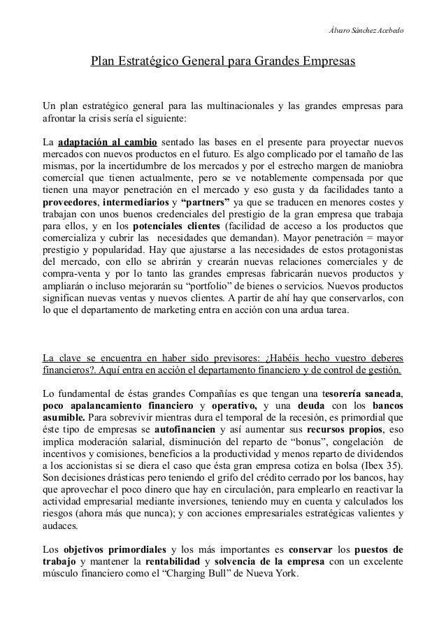 Álvaro Sánchez Acebedo           Plan Estratégico General para Grandes EmpresasUn plan estratégico general para las multin...