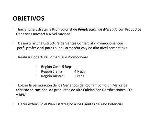 OBJETIVOS•     Iniciar una Estrategia Promocional de Penetración de Mercado con Productos    Genéricos Rocnarf a Nivel Nac...