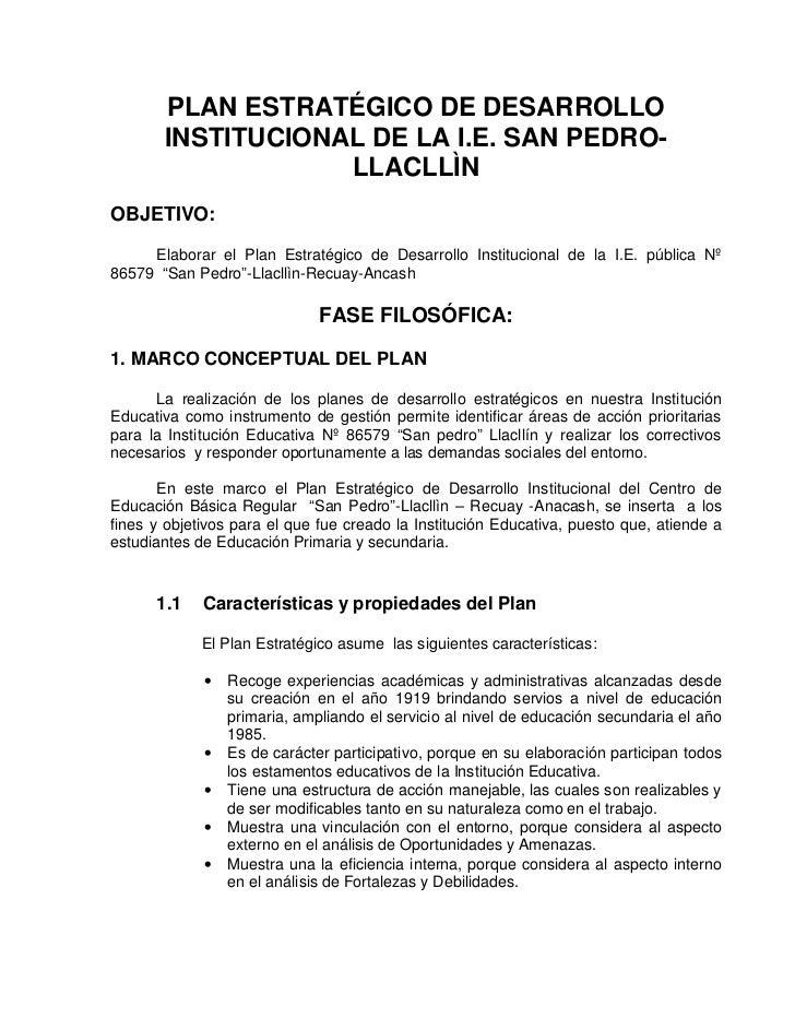 PLAN ESTRATÉGICO DE DESARROLLO       INSTITUCIONAL DE LA I.E. SAN PEDRO-                   LLACLLÌNOBJETIVO:     Elaborar ...