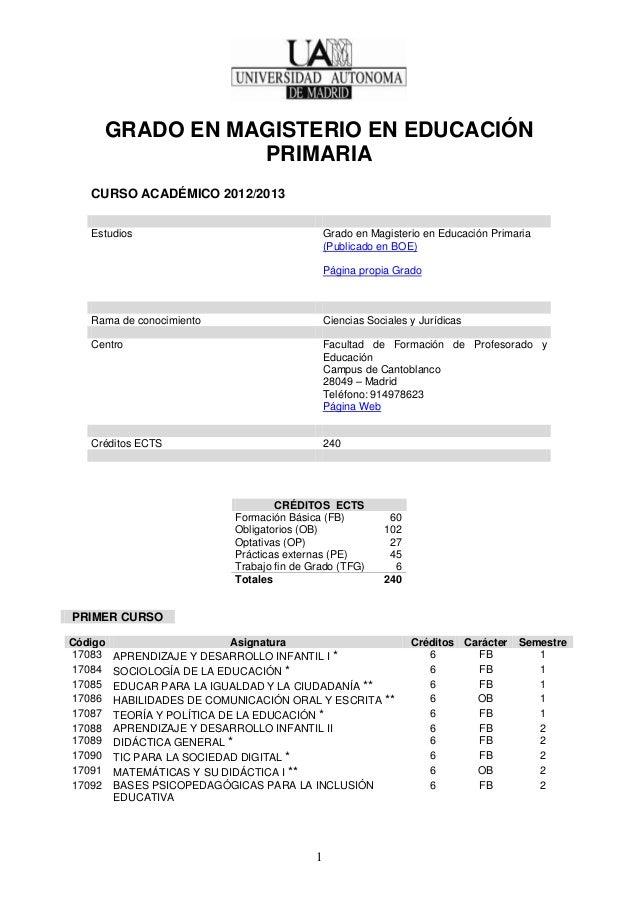 GRADO EN MAGISTERIO EN EDUCACIÓN                PRIMARIA   CURSO ACADÉMICO 2012/2013   Estudios                           ...