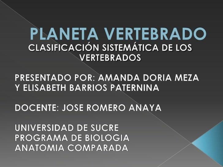 PLANETA VERTEBRADO<br />CLASIFICACIÓN SISTEMÁTICA DE LOS VERTEBRADOS<br />PRESENTADO POR: AMANDA DORIA MEZA Y ELISABETH BA...