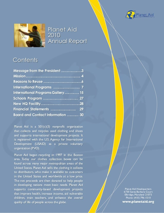 Planet Aid Annual Report 2010