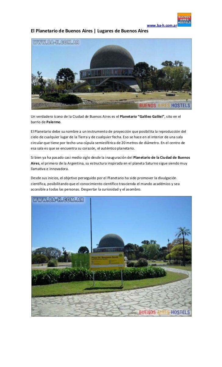 www.ba-h.com.arEl Planetario de Buenos Aires   Lugares de Buenos AiresUn verdadero ícono de la Ciudad de Buenos Aires es e...