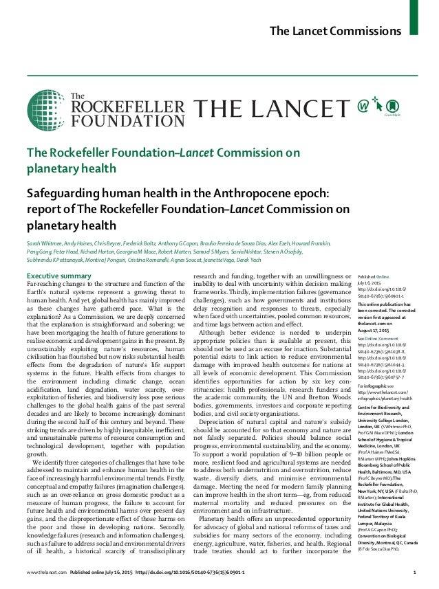 The Lancet Commissions www.thelancet.com Published online July 16, 2015 http://dx.doi.org/10.1016/S0140-6736(15)60901-1 1 ...