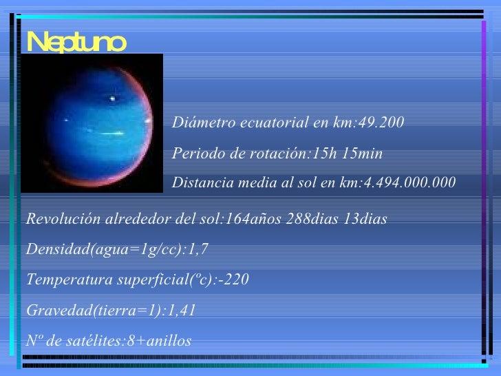 Neptuno Diámetro ecuatorial en km:49.200 Periodo de rotación:15h 15min Distancia media al sol en km:4.494.000.000 Revoluci...