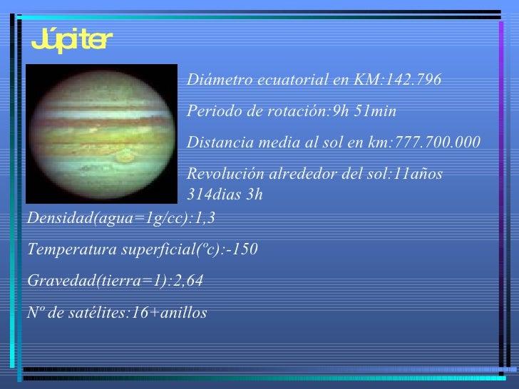 Júpiter Diámetro ecuatorial en KM:142.796 Periodo de rotación:9h 51min Distancia media al sol en km:777.700.000 Revolución...