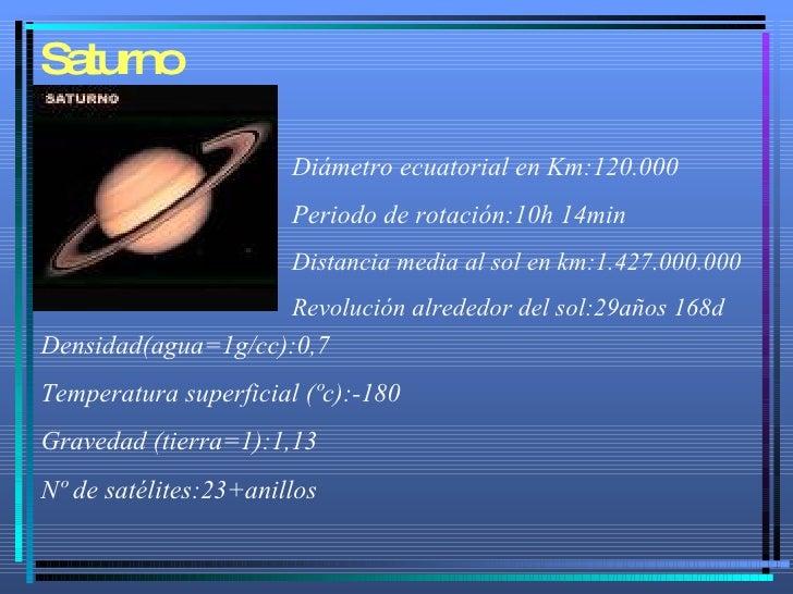 Saturno Diámetro ecuatorial en Km:120.000 Periodo de rotación:10h 14min Distancia media al sol en km:1.427.000.000 Revoluc...