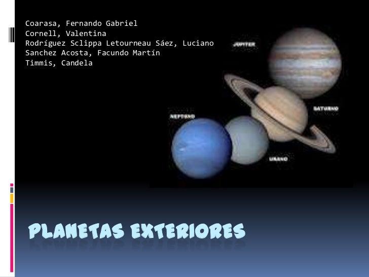 Planetas exteriores for Que es exterior y interior