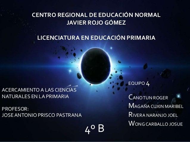 CENTRO REGIONAL DE EDUCACIÓN NORMAL                   JAVIER ROJO GÓMEZ            LICENCIATURA EN EDUCACIÓN PRIMARIA     ...